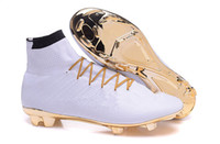 Wholesale 2016 new Mercurial Superfly CR7 White Golden football Soccer Shoes Soccer Cleats original Men shoes Soccer Shoes Football Shoes