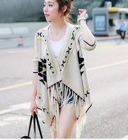 beige color combinations - 2016 Autumn Winter Euramerican Style Cappa Sweater Irregular Geometric Pattern Color Combination Loose Ladies Knitting Cardigan Shirt