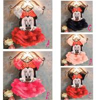 Wholesale Hot retail summer children clothing kids girls short sleeve cartoon cute mouse skirt tutu princess dress