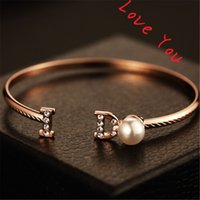 Wholesale 2016 Hot Selling Round Pearl Charm Bangles Fashion Korean Gold Plated Bangles Letter I and D Jewelry Bangles Bracelets Accessories