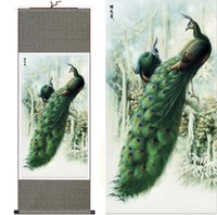 animal pictures birds - Dragon Art Modern Abstract Painting Bird Green Peacock High Quality Wall Decor Scenery Paintings on Silk Canvas Home Decor Christmas Gift