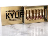 Wholesale Kylie Jenner Limited gold Birthday Edition Kylie lipsticks Matte liquid Lipstick set mini gold kylie lipgloss kit set