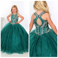 Wholesale 2016 Girls Pageant Dresses Organza Ball Gowns Beaded Crystals Custom Formal Dark Green Kids Flower Girl Party Prom Gowns