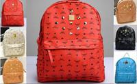 Wholesale Hot selling Punk Rivet Backpacks Men Schoolbag Handbags Women Leather Shoulders Bag Men Bag Designer Handbag