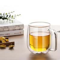 Wholesale double wall glass pitcher water glass cup with handle mugs for home office ml