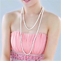 Wholesale White Pearl Long Statement Necklaces Women Lady Sweater Chain Crystal Fashion Party High Quality Jewelry