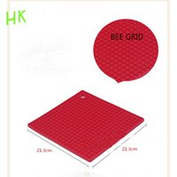 anti slip tray - The new silica gel square lattice multifunctional heat insulation anti slip pot tray mat advanced environmental protection can be customized