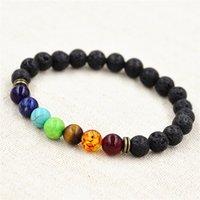 balance bar gold - Muti color Design Mens Bracelets Lava Chakra Healing Balance Beads Bracelet Rhinestone Reiki Prayer Stones