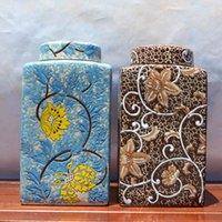 Wholesale Pre order Square ceramic storage tank caddy decorative pot home decoration decoration four European Meike