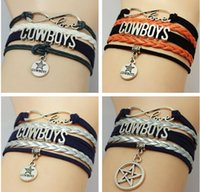 Wholesale New arrival colors multi layer handmade woven bracelet football infinity cowboys charm bracelet letter bracelet diy jelwery drop shipping