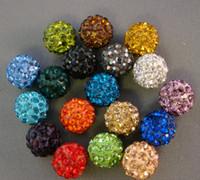Precio de Mixed crystal beads-150pcs / lot de 10mm de color blanco mezclado disco de la CZ Shamballa de la pulsera del collar del grano Beads.Hot gotas! Lote Rhinestone DIY espaciador