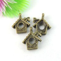 antique gold jewellry - 50pcs Antique Bronze House Charm Pendant Jewellry Finding mm jewelry making