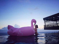 Wholesale Big Size Inflatable Flamingo Pink Floating Row Ride On Animal Toys Pool Toy Adults Outdoor Infant Swim Ring Swimming Bed Good Price T4