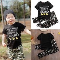 baby army outfit - 2pcs Children Baby Infant Clothes Army Green Boys Girls Outfits T shirt Tops Pants Black Cute Cartoon Letter Kids Clothes