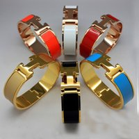 Wholesale Fashion Wide mm Enamel Titanium Steel bangles bracelets Yellow Gold Metal Colors Women Jewelry with Free Box