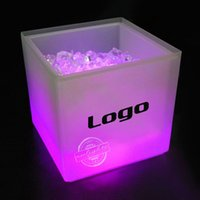 beer pails - Cool Party LED Ice Bucket Double Layer Event Night Club KTV LED Beer RGB Color Changing Flashing Light ice Pail Wine ice Buckets