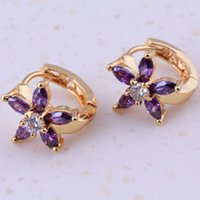 amethyst clip on earrings - Enchanting Purple Amethyst White Topaz K Gold Plated Huggie Earrings Women Fashion Jewelry H0004
