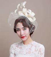 banquet fascinator - 2016 Bridal Hat Fascinator Handmade Linen Beige Birdcage Veil Wedding Headdress Lady s Elegant Banquet Tulle Hair Accessories