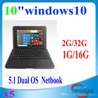 Wholesale 5pcs inch mini laptop Intel Baytrail CR Z3735F Quad core Windows Andriod Dual OS NetBook Tablet YX BJ