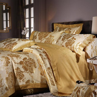 Wholesale 4 piece bedding sets home textile bedding set bright glod Satin nobility cotton new style bedding suplier multicolor