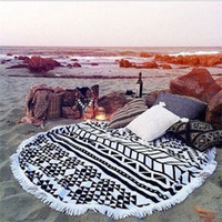 Wholesale 20 Types Cotton Round Beach Towel cm Bath Towel Tassel Decor Geometric Printed Bath Towel