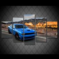 acrylic car paint - 5 Set HD Printed Blue car Painting Canvas Print room decor print poster picture canvas acrylic paintings