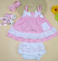 Wholesale Sleeveless Baby Romper Bowknot Dress Suit Cotton Kids Clothes Baby Girls One piece Rompers Jumpsuit with headband and shoes set