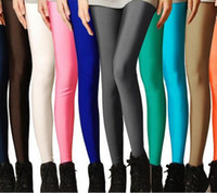 Wholesale Fashion elastic fluorescent super elastic thin brand candy color neon pants shaping leggings for women zw083