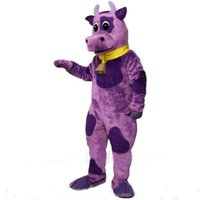 bell cow - Purple Violet Bull Cow Mascot Costume with Bell Collar Cow Theme Mascotte Anime Cosply Costumes Fancy Dress