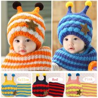 bee beanie - 2016 Winter Baby Hats Scarf Sets Kids Skullies Beanie Knitted Collar Cute Bee Star Children Caps Hats Girls Boys Infantil Wear