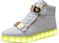 Wholesale New Hot Big Size USB LED Shoes Men Women Glowing Fashion Light Shoes Flats High top Adults Lumineuse Shoes