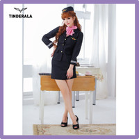 attendant uniform - sexy flight attendant halloween costume long sleeve sexy steardess lingerie suit one size for most women