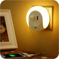 bedroom bedside lamps - Multifunctional Creative socket led sensor night light intelligent photoswitchable bedroom bedside lamp with double USB charger
