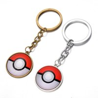 Wholesale Cartoon Pocket Monster Poke Keychain Alloy cabochon Time gem Pendant Key Chain Elf Ball Collection Key ring Jewelry Pendant