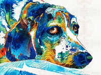 beagle art - Giclee colorful beagle dog art by sharon cummings sharon cummings oil painting arts and canvas wall decoration