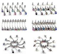 Wholesale Mix Piercing Crystal Stainless Steel Eyebrow Piercing Jewelry Rhinestone Ear Stud Rings Body Jewlery