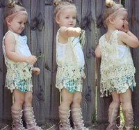 Wholesale 2016 INS HOT baby girl kids floral crochet vest crocheted hollow lace knitted shawl robe coat cardigan Poncho tops Cute tassels fringed
