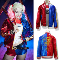 batman leather jacket - 2016 Batman Joker Harley Quinn Suicide Squad Jacket Cosplay Costume Leather Coat for cosplay Highly close to Real props