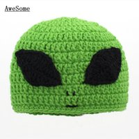alien photos - Novelty Character Green Alien Hat Handmade Knit Crochet Baby Boy Girl Big Eye Alien Hat Infant Winter Hat Newborn Toddler Photo Prop