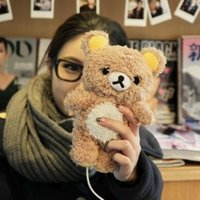 Wholesale Cartoon Plush idoll Note4 D Rilakkuma Bear Case for Samsung Galaxy S3 S4 S5 Note Note N9100 for iphone Case