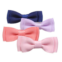 Wholesale 5 Cute Bow Kids Clip GirlCandy Color Stripe Pattern Lovely Baby Clips Bowknot Hairpin Girl Children Ribbon Hair Accessories