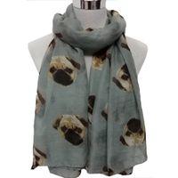 Wholesale Newly Design Fashion Accessories Women Long Cute D Pug Dog Pattern Scarf Wraps Shawl Soft Shawl Scarves Size190 cm