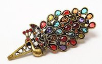 Wholesale Fashion Ladies Vintage Colorful Rhinestone Peacock Barrette Hairpin Hair Clip H210347