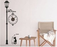 antique white mirror - 2015 New Mirror Wall Clock D Black and white cat street Wall Sticker Home Decoration On Kids Room living room