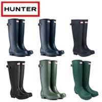 Wholesale Hunter Original Tour Women s Balck Rain Boots Norris Field Buckle Winter Rain Boots Ms glossy Waterproof Hunter Wellies Boots Pink Green