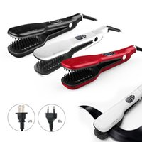 automatic electric iron - 50pcs Steampod Magical Steam Comb Straightening Irons Automatic Straight Hair Brush With LCD Display Electric Styling Tool