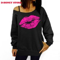 Wholesale 2016 Autumn Winter Long Sleeve Sweatshirts Women Lips Print O neck Sexy Off Shoulder Hoodies Women Sudaderas Mujer Chandal