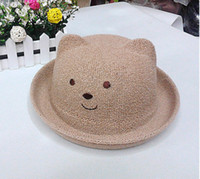 bamboo manufacturing - Fashion summer hats for kids outdoor quite bear Grass Braid Stingy Brim Hats straw cap manufacture
