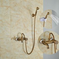 bath units - Luxury Antique Brass Shower Units Bath Tub Faucet Single Lever With Hand Shower Mixer Taps