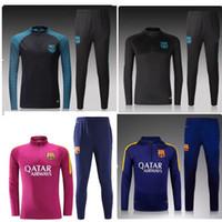 best fleece pants - 3A Best quality barcelona soccer tracksuit chandal football Tracksuit training suit skinny pants Sportsw